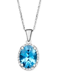 Macy's 14K White Gold Necklace Blue Topaz 2 Ct. T.W. And Diamond Accent Oval Pendant