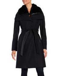 French Connection Faux Fur Collar Belted Coat Charcoal