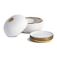 L'objet Ionic Box And Plates Porcelain And Brass Set Of 4