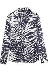 Equipment Femme Printed Washed Silk Shirt Navy