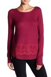 Lucky Brand Lace Mix Sweater Black