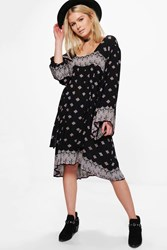 Boohoo Cora Placement Print Wide Sleeve Smock Dress Multi