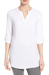 Pleione Petite Women's Split Neck Mixed Media Tunic White