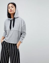 Noisy May Cropped Hoodie Sweater Grey