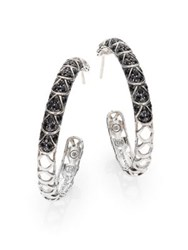 John Hardy Naga Black Sapphire And Sterling Silver Cutout Lava Hoop Earrings 1.3 Silver Black