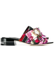Dolce And Gabbana Flower Print Mules Purple