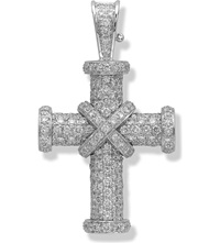 Theo Fennell 18Ct White Gold And Diamond Baby Cross Pendant