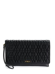 Furla Quilted Logo Clutch Black