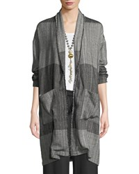 Eileen Fisher Organic Cotton Striped Long Cardigan Jacket Plus Size Black