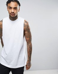Asos Sleeveless T Shirt With Dropped Armhole And Wide Neck Trim In White White