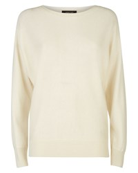 Jaeger Wool Cashmere Crew Sweater White