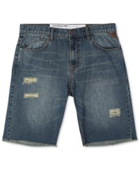 Lrg Men's Big And Tall Nomad True Straight Fit Destroyed Denim Cotton Shorts Surefirwsh