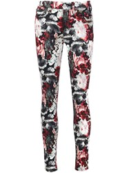 7 For All Mankind Floral Print Skinny Jeans White
