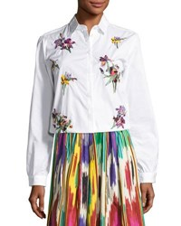 Etro Floral Embroidered Cotton Blouse White