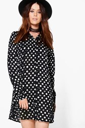 Boohoo Tall Alessia Spot Woven Shirt Dress Black