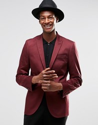 Asos Super Skinny Blazer In Cotton Burgundy Red