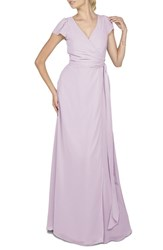 Women's Ceremony By Joanna August 'Aurele' Cap Sleeve Chiffon Wrap Gown Lilac