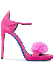 Loriblu Fur Sandals Leather Suede Pink Purple