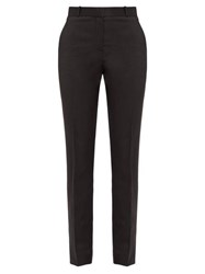 The Row Franklin Straight Leg Wool Crepe Trousers Black