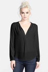 Astr Long Sleeve Woven Tunic Black