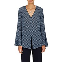 Derek Lam Women's Abstract Print Silk V Neck Blouse Blue
