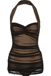 Norma Kamali Bill Mio Ruched Stretch Tulle Swimsuit Black