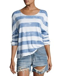Rag And Bone Washed Stripe Long Sleeve Tee Fog White Blue Pattern