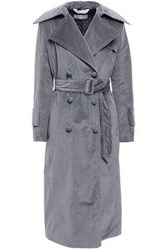 Nina Ricci Woman Belted Cotton Blend Corduroy Trench Coat Gray