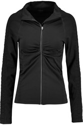Yummie Tummie Vera Croc Effect Trimmed Stretch Jersey Jacket Black