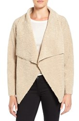 Velvet By Graham And Spencer Women's 'Lux' Reversible Faux Shearling Drape Front Jacket Camel