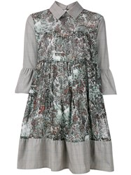 I'm Isola Marras Printed Bell Sleeve Shirt Dress Grey