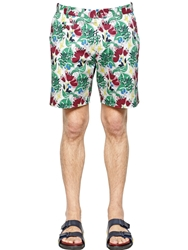 Antonio Marras Floral Printed Stretch Cotton Shorts Green