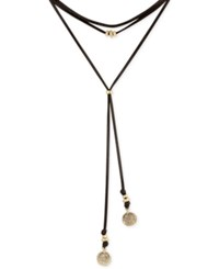 Lucky Brand Leather Choker Charm Necklace Black