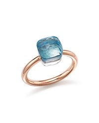 Pomellato Nudo Mini Ring With Faceted Blue Topaz In 18K Rose And White Gold Blue Rose