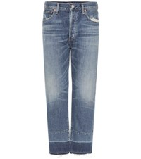 Citizens Of Humanity Cora Crop Relaxed Undone Hem Jeans Blue