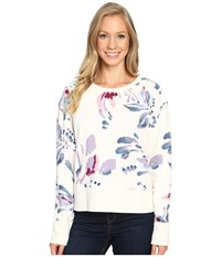 Life Is Good Abstract Floral Go To Crew Simply Ivory Women's Long Sleeve Pullover White