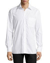 Luciano Barbera Woven Long Sleeve Sport Shirt White