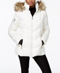 Nautica Faux Fur Trim Hooded Puffer Coat Sail Cream