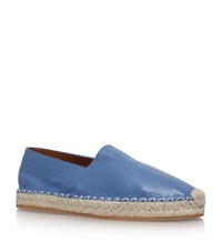 Valentino Pebbled Leather Espadrilles Male Blue