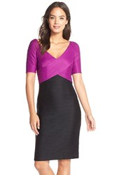 Women's Nue By Shani Colorblock Ottoman Knit Sheath Dress Berry Black