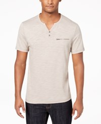 Inc International Concepts I.N.C. Men's Chambers Heathered Split Neck T Shirt Created For Macy's Canyon Red