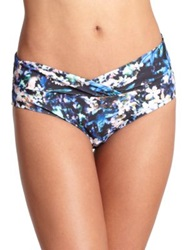 Badgley Mischka Floriana Shirred Cross Bikini Bottom Multi