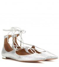 Aquazzura Christy Flat Glittered Leather Ballerinas Silver