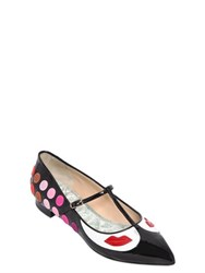 Giannico 10Mm Dots And Lips Patent Leather Flats