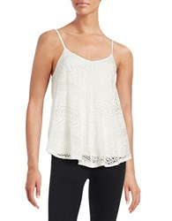 Design Lab Lord And Taylor Lace Trapeze Tank Ivory