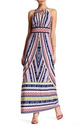 London Times Printed Keyhole Halter Maxi Dress Petite Multi