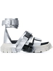 Rick Owens Tractor Ankle Strap Sandals Silver