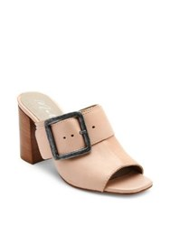 Matisse Beatrice Leather Peep Toe Mules Nude