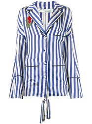 Off White Floral Embroidered Stripe Shirt Blue