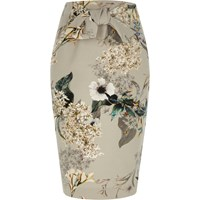 River Island Womens Grey Floral Tie Front Pencil Skirt